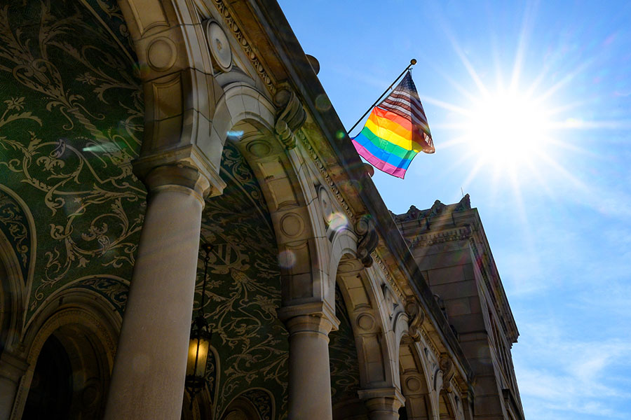 Memorial Union flies a Pride Flag, June 2019