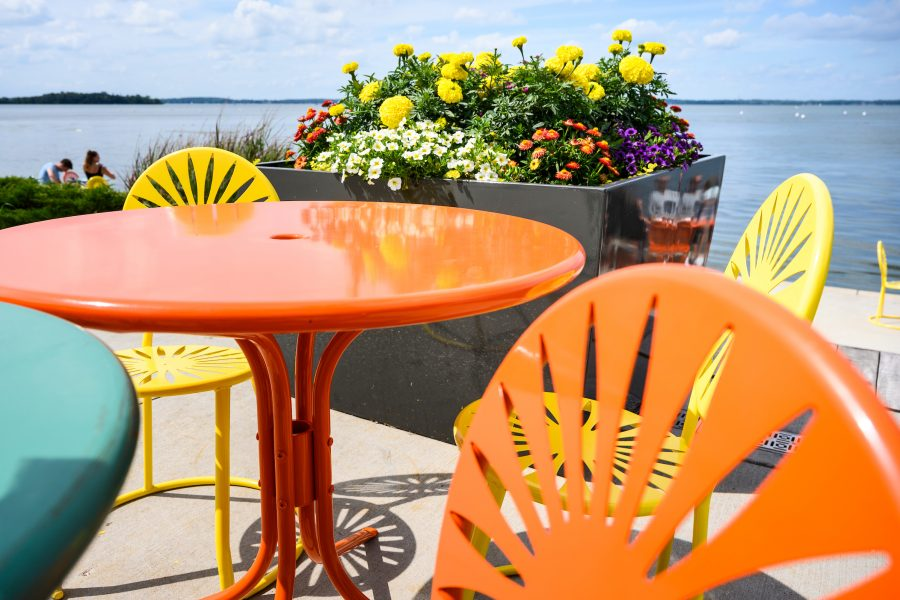 Terrace chairs in summer