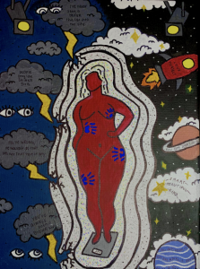 A body surrounded by a night sky on one side and thunderclouds on the other.